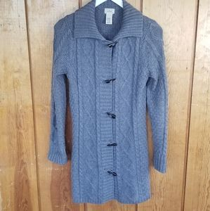 LL Bean Wool Blend Long Cardi w Toggle Buttons, M